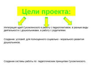 Цели проекта: Интеграция идей Сухомлинского в работу с педколлективом, в разн