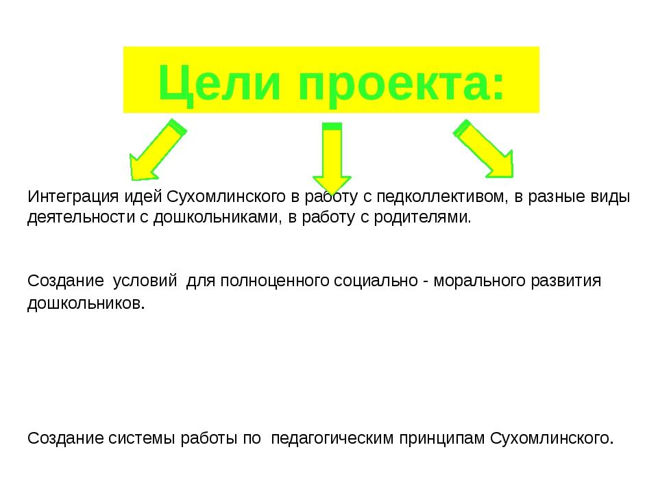 Цели проекта: Интеграция идей Сухомлинского в работу с педколлективом, в разн...