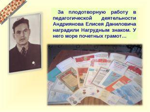 За плодотворную работу в педагогической деятельности Андриянова Елисея Дан