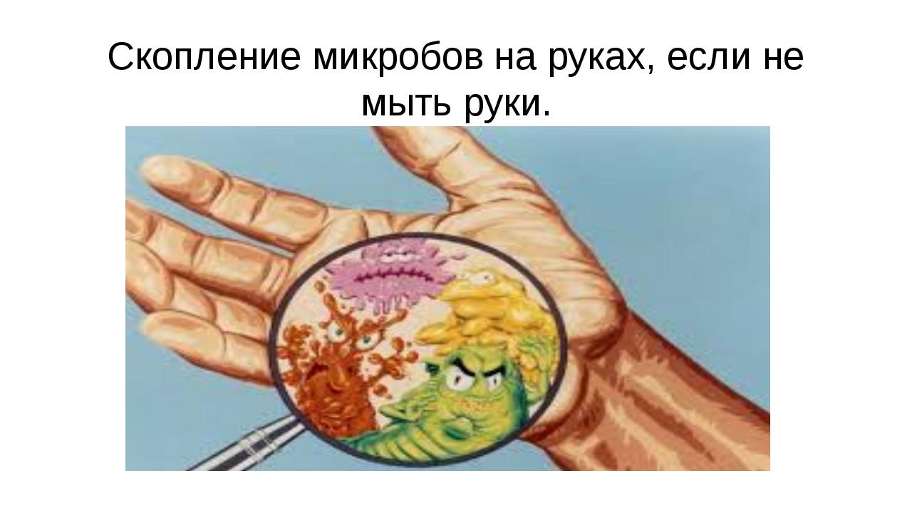 Скопление микробов на руках, если не мыть руки.
