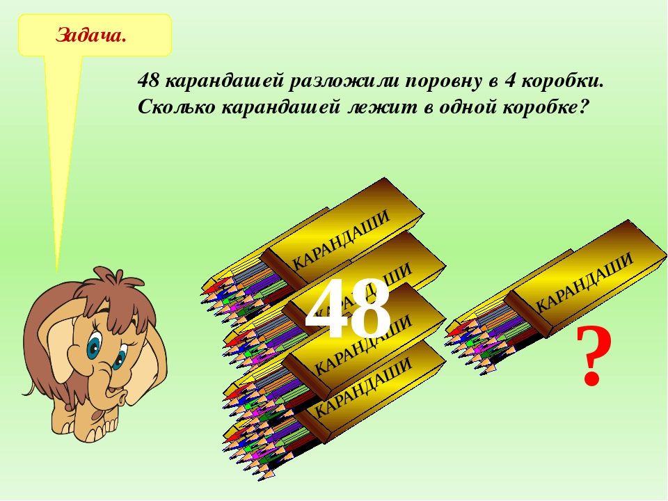 - х х ∙ 4 = 48 х = 12 Решение: х = 48:4 Ответ: 12 карандашей в одной коробке....