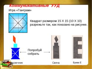 Коммуникативные УУД Игра «Танграм» Квадрат размером 15 Х 15 (10 Х 10) разрежь