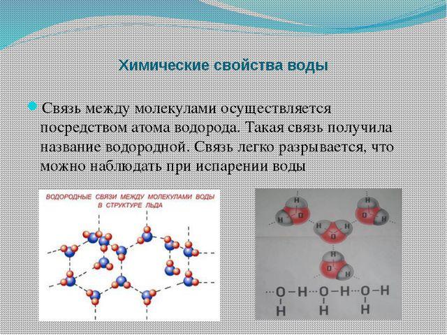 Химические свойства воды Связь между молекулами осуществляется посредством ат...