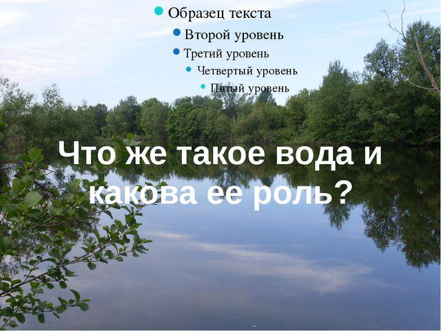 Что же такое вода и какова ее роль?