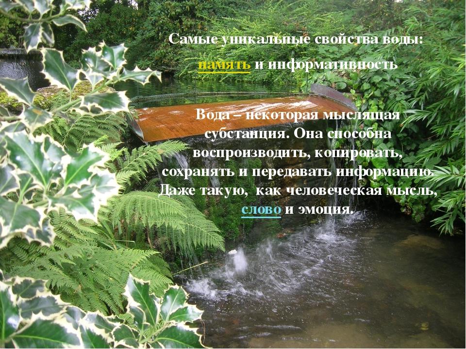 Самые уникальные свойства воды: память и информативность Вода – некоторая мы...