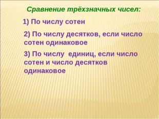 1) По числу сотен 2) По числу десятков, если число сотен одинаковое 3) По чис