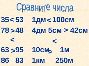 35 53 1дм 100см 78 48 4дм 5см 42см 63 95 10см 1м 86 83 1км 250м < > < > < > < >