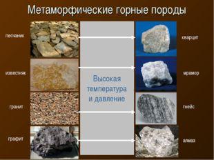 Метаморфические горные породы Высокая температура и давление