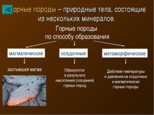 Горные породы – природные тела, состоящие из нескольких минералов. Горные пор