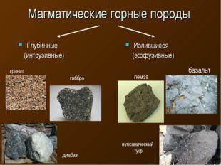 Магматические горные породы Глубинные (интрузивные) Излившиеся (эффузивные)