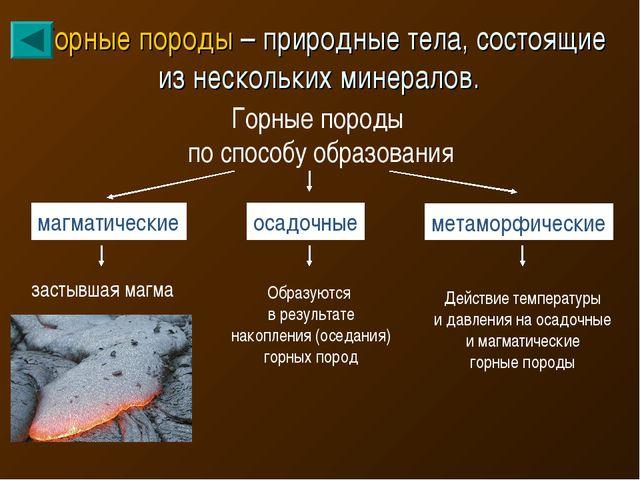 Горные породы – природные тела, состоящие из нескольких минералов. Горные пор...