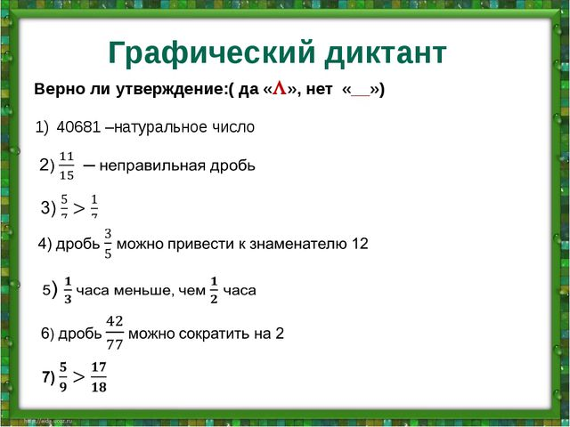Графический диктант Верно ли утверждение:( да «», нет «__») 40681 –натуральн...