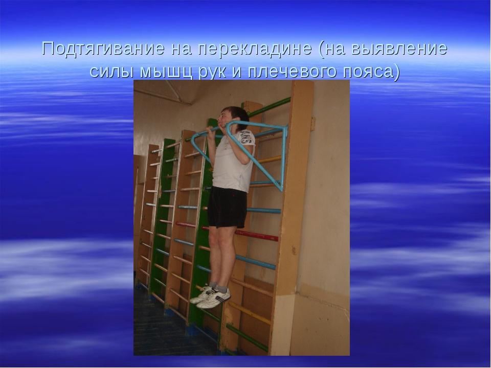 Подтягивание на перекладине (на выявление силы мышц рук и плечевого пояса)