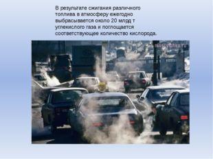В результате сжигания различного топлива в атмосферу ежегодно выбрасывается о