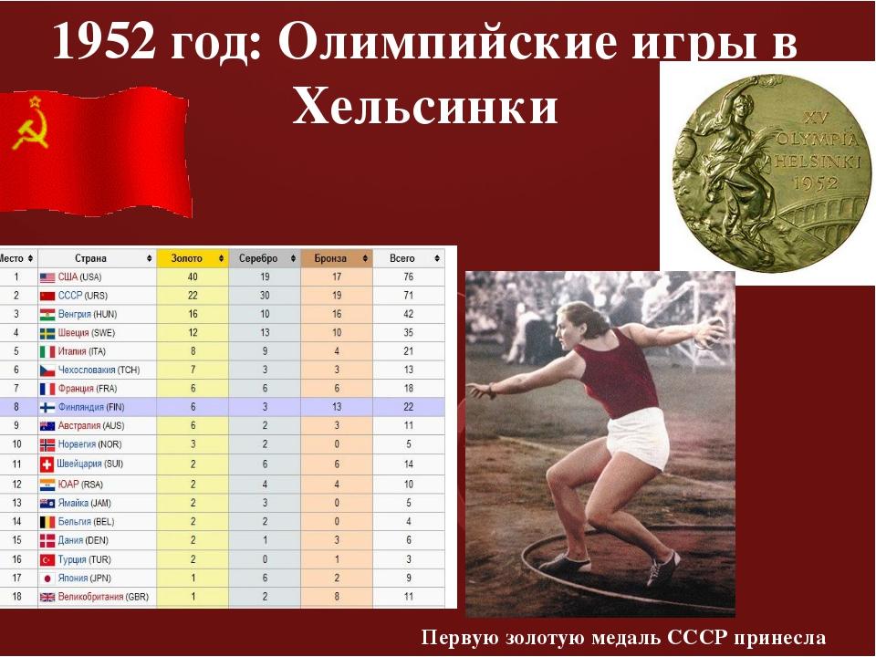 1952 год: Олимпийские игры в Хельсинки Первую золотую медаль СССР принесла Н...