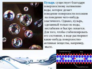 Пузырь существует благодаря поверхностному натяжению воды, которое делает пов