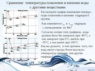 Сравнение температуры плавления и кипения воды с другими веществами Рассмотри