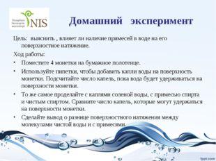 Домашний эксперимент Цель: выяснить , влияет ли наличие примесей в воде на ег
