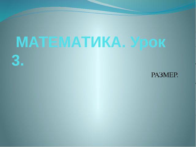 МАТЕМАТИКА. Урок 3. РАЗМЕР.