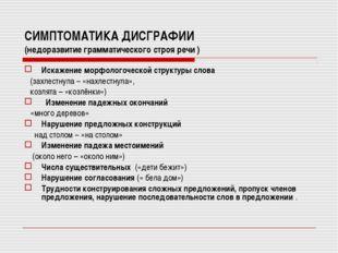 СИМПТОМАТИКА ДИСГРАФИИ (недоразвитие грамматического строя речи ) Искажение м