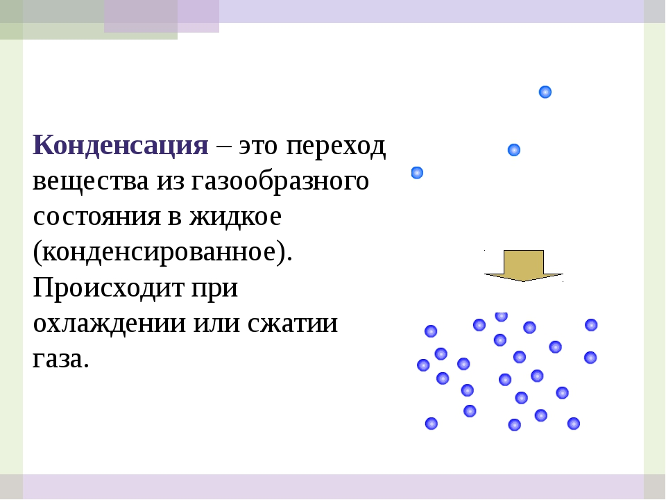 Конденсация – это переход вещества из газообразного состояния в жидкое (конде...