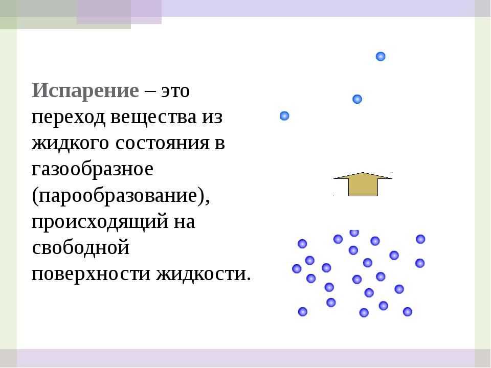 Испарение – это переход вещества из жидкого состояния в газообразное (парообр...