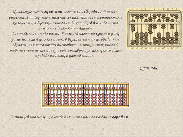 У японцев это же устройство для счета носило название серобян.