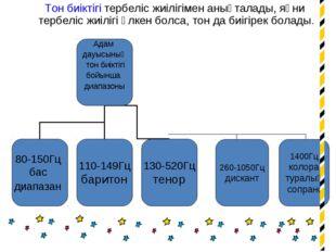 Тон биіктігі тербеліс жиілігімен анықталады, яғни тербеліс жиілігі үлкен бол