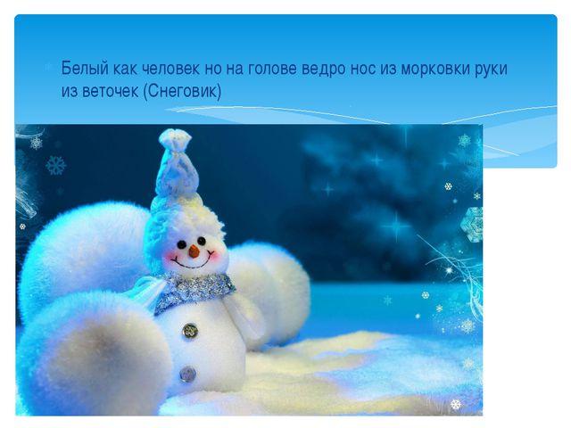 Белый как человек но на голове ведро нос из морковки руки из веточек (Снеговик)