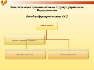 Классификация организационных структур управления Иерархические Линейно-функц