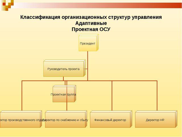 Классификация организационных структур управления Адаптивные Проектная ОСУ