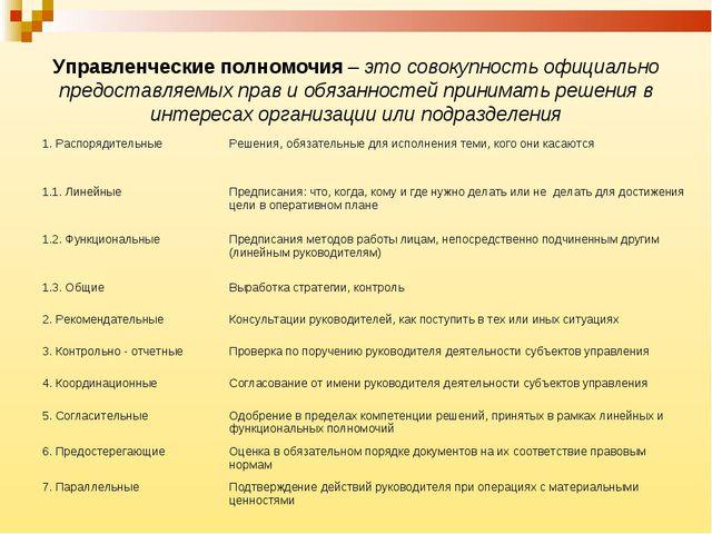 Управленческие полномочия – это совокупность официально предоставляемых прав...
