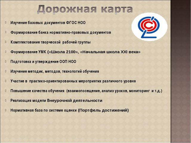 Изучение базовых документов ФГОС НОО Формирование банка нормативно-правовых д...