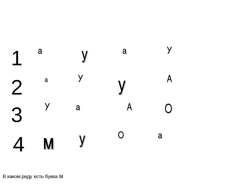 В каком ряду есть буква М 1 2 3 4 а у а У а У у А У а А О м у О а