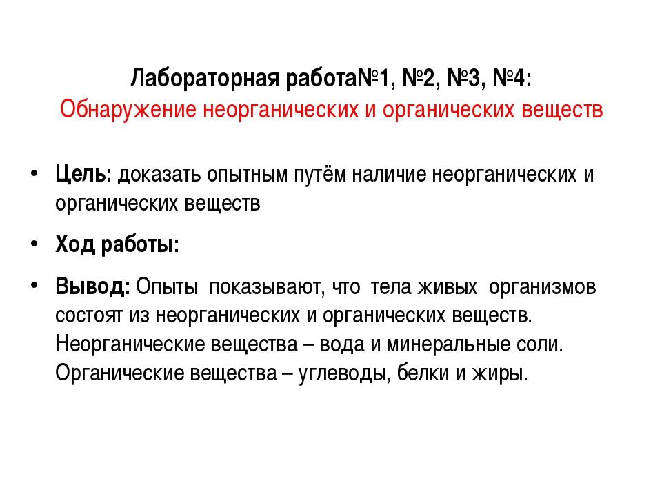 Лабораторная работа№1, №2, №3, №4: Обнаружение неорганических и органических...