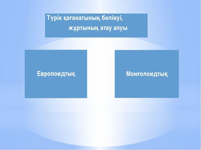 Европоидтық Монғолоидтық Түрік қағанатының бөлінуі,жұртыныңатау алуы