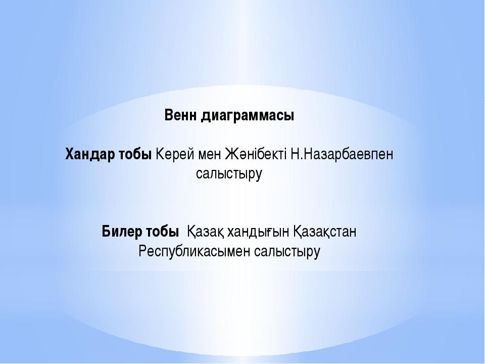 Венн диаграммасы  Хандар тобы Керей мен Жәнібекті Н.Назарбаевпен салыстыру ...