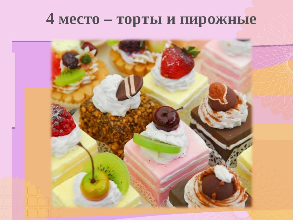 4 место – торты и пирожные