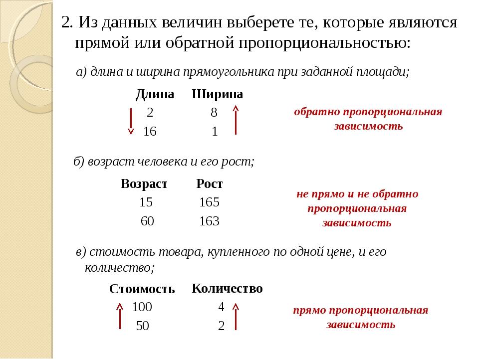 2. Из данных величин выберете те, которые являются прямой или обратной пропор...