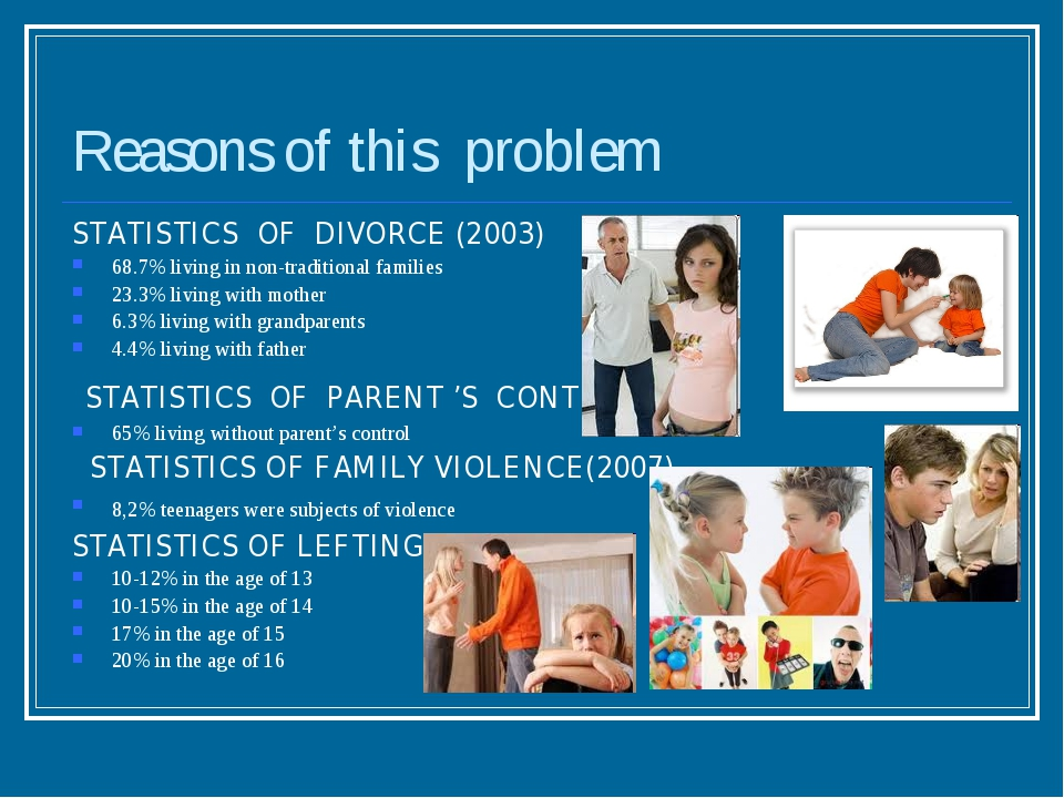 Reasons of this problem STATISTICS OF DIVORCE (2003) 68.7% living in non-trad...