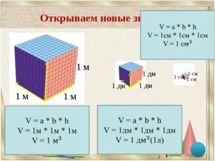 Открываем новые знания 1 м 1 м 1 м 1 дм 1 дм 1 дм 1 см 1 см 1 см