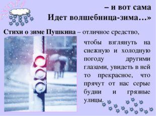 – и вот сама Идет волшебница-зима…» чтобы взглянуть на снежную и холодную пог