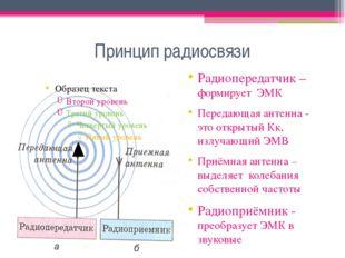 Принцип радиосвязи Радиопередатчик – формирует ЭМК Передающая антенна - это о