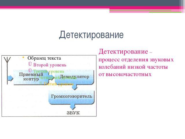 Детектирование Детектирование – процесс отделения звуковых колебаний низкой ч...