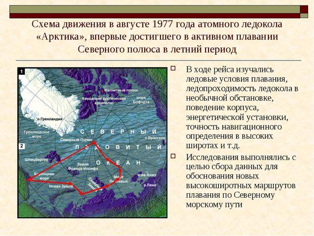 Схема движения в августе 1977 года атомного ледокола «Арктика», впервые дости...