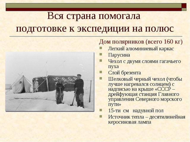 Вся страна помогала подготовке к экспедиции на полюс Дом полярников (всего 16...