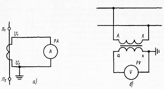 Схемы включения измерительных приборов переменного тока