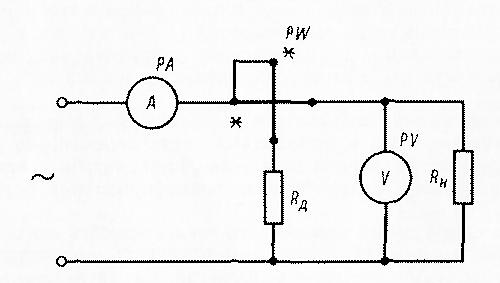 Схема включения приборов для измерения мощности