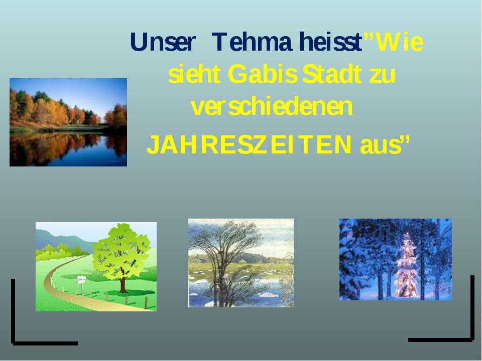 """Unser Tehma heisst""""Wie sieht Gabis Stadt zu verschiedenen JAHRESZEITEN aus"""""""
