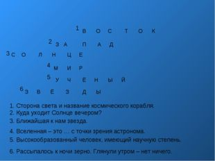 1 2 3 4 5 6 1. Сторона света и название космического корабля. 2. Куда уходит
